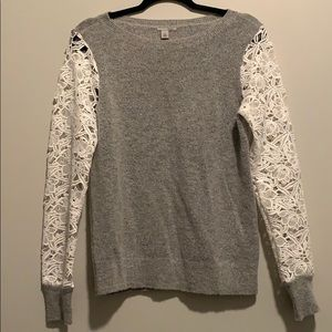 Halogen sweater with lace sleeves